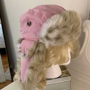 Pink Faux Fur Winter Hunting Hat Ear Flaps